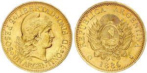 5 Песо Республіка Аргентина (1861 - ) Золото
