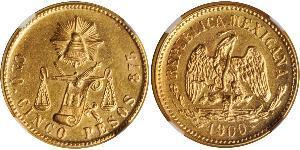 5 Песо Соединённые Штаты Мексики (1867 - ) Золото