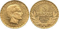 5 Песо Уругвай Золото Артигас, Хосе Хервасио