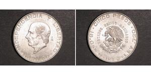 5 Песо Second Federal Republic of Mexico (1846 - 1863) Срібло Miguel Hidalgo