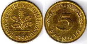 5 Пфенниг ФРГ (1949-1990) Латунь