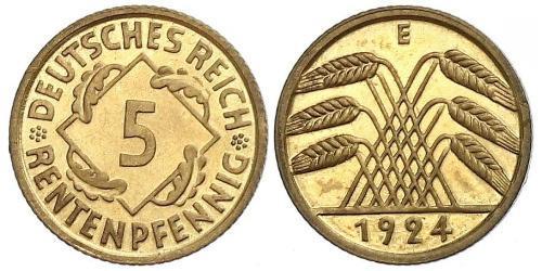 5 Рейхспфенниг Веймарская республика (1918-1933) Латунь