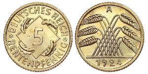 5 Рейхспфеніг Веймарська республіка (1918-1933) Латунь
