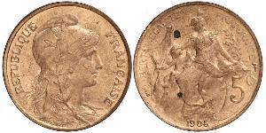 5 Сантим Третья французская республика (1870-1940)  Бронза