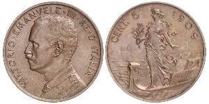 5 Сентесімо Kingdom of Italy (1861-1946) Мідь Віктор Емануїл III (1869 - 1947)