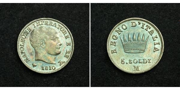 5 Сольдо Королівство Італія (Наполеонівське) (1805–1814) Срібло Наполеон I Бонапарт(1769 - 1821)
