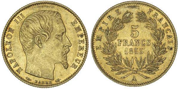 5 Франк Вторая французская империя (1852-1870) Золото Наполеон III Бонапарт (1808-1873)