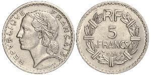 5 Франк Третя французька республіка (1870-1940)  Нікель