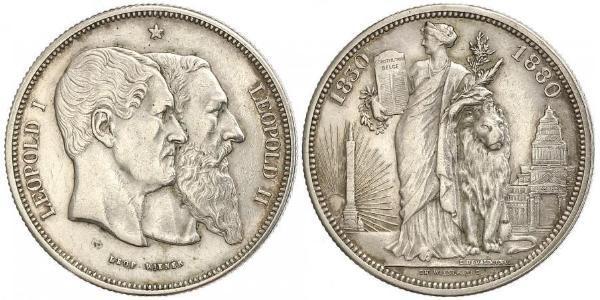 5 Франк Бельгия Серебро Леопольд I (король Бельгии) (1790-1865) / Леопольд II (1835 - 1909)