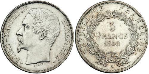 5 Франк Вторая французская республика (1848-1852) Серебро Наполеон III Бонапарт (1808-1873)