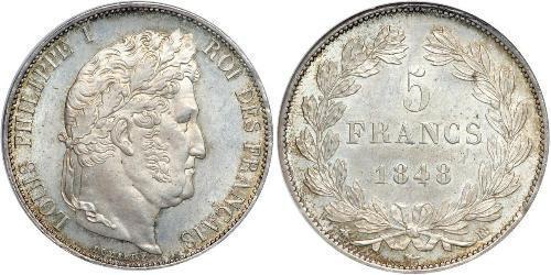 5 Франк Июльская монархия (1830-1848) / Франция Серебро Луи-Филипп I (1773 -1850)