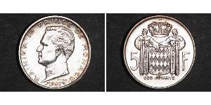 5 Франк Монако Серебро Ренье III (князь Монако)