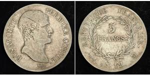 5 Франк Первая Французская империя (1804-1814) Серебро Наполеон I(1769 - 1821)