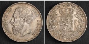 5 Франк Бельгія Срібло Леопольд II (1835 - 1909)