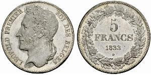 5 Франк Бельгія Срібло Leopold I of Belgium (1790-1865)