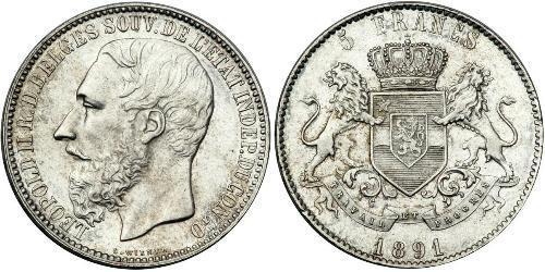 5 Франк Вільна держава Конго (1885 - 1908) Срібло Леопольд II (1835 - 1909)