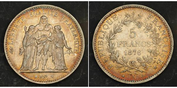 5 Франк Третя французька республіка (1870-1940)  Срібло