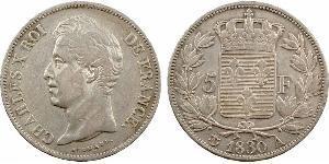5 Франк Kingdom of France (1815-1830) Срібло Карл X король Франції (1757-1836)