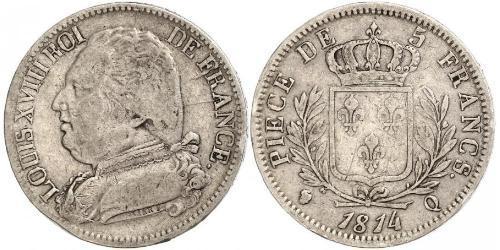 5 Франк Kingdom of France (1815-1830) Срібло Людовик XVIII  (1755-1824)