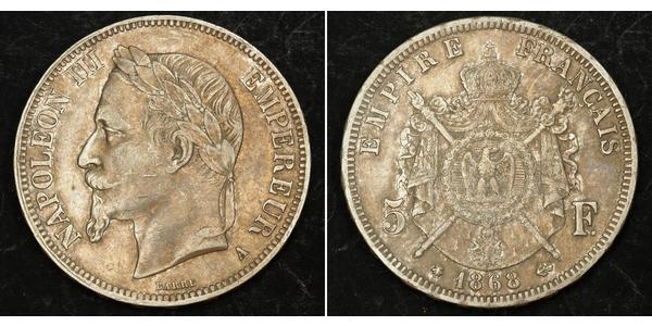 5 Франк Second French Empire (1852-1870) Срібло Наполеон ІІІ Бонапарт (1808-1873)