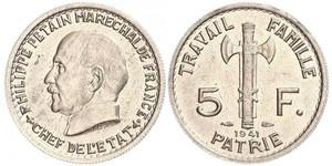 5 Франк Французское государство режима Виши (1940-1944)  Петен, Анри Филипп