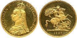5 Фунт Сполучене королівство Великобританії та Ірландії (1801-1922) / Британська імперія (1497 - 1949) Золото Вікторія (1819 - 1901)