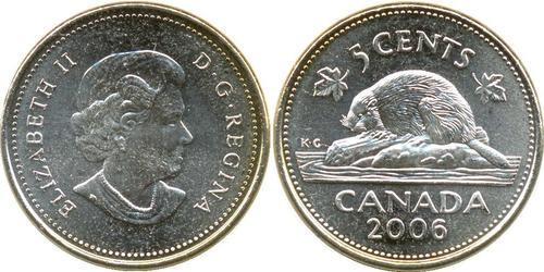 5 Цент Канада Мідь Єлизавета II (1926-)
