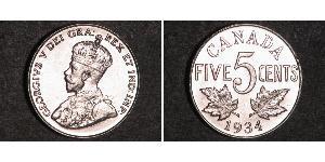 5 Цент Канада Никель Георг V (1865-1936)