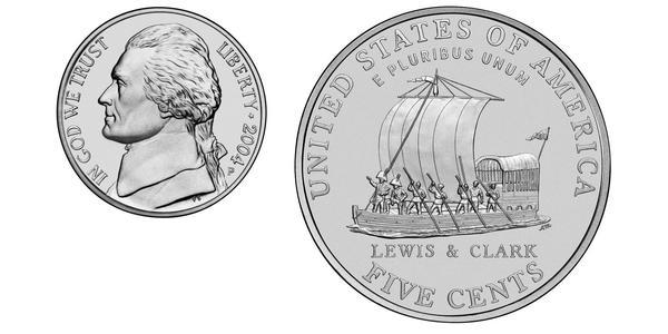 5 Цент США (1776 - ) Никель Томас Джефферсон (1743-1826)