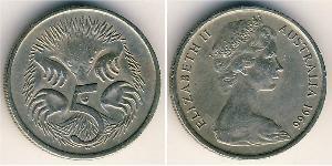 5 Цент Австралия (1939 - ) Никель/Медь Елизавета II (1926-)