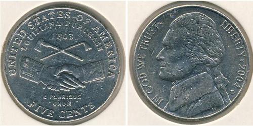5 Цент США (1776 - ) Нікель/Мідь Томас Джефферсон (1743-1826)