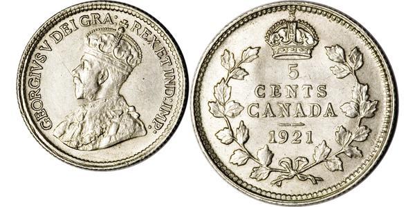 5 Цент Канада Серебро Георг V (1865-1936)