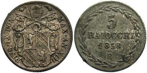 5 Baiocco Papal States (752-1870) Silver Pope Pius IX (1792- 1878)