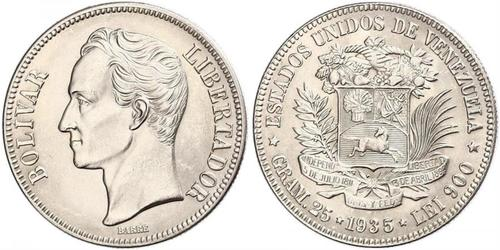 5 Bolivar Venezuela Argent