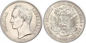5 Bolivar Venezuela Argento