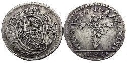 5 Bolognini Papal States (752-1870) Silver Pope Pius VI ( 1717-1799)