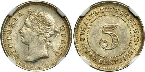 5 Cent Établissements des détroits (1826 - 1946) Argent Victoria (1819 - 1901)