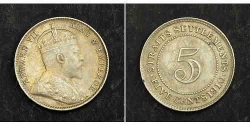 5 Cent Établissements des détroits (1826 - 1946) Argent Édouard VII (1841-1910)
