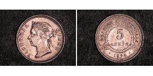 5 Cent British Honduras (1862-1981) Argento Vittoria (1819 - 1901)