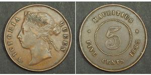 5 Cent Mauricio Bronce Victoria (1819 - 1901)