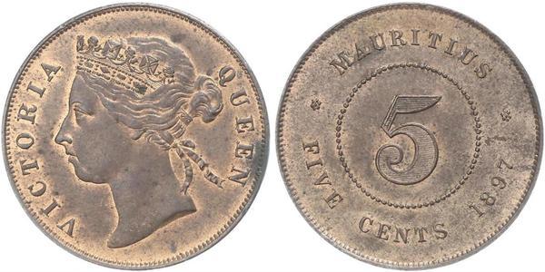 5 Cent Mauritius Bronze Victoria (1819 - 1901)