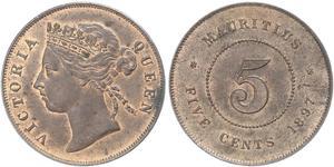 5 Cent Mauritius Bronzo Vittoria (1819 - 1901)