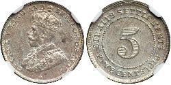 5 Cent Straits Settlements (1826 - 1946) Kupfer/Nickel George V (1865-1936)