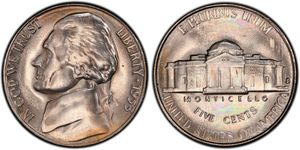 5 Cent Estados Unidos de América (1776 - ) Níquel/Cobre Thomas Jefferson (1743-1826)
