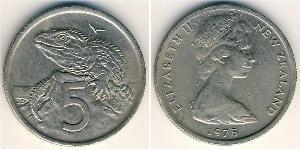 5 Cent Nueva Zelanda Níquel/Cobre Isabel II (1926-)