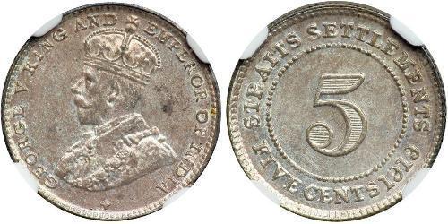 5 Cent Straits Settlements (1826 - 1946) Níquel/Cobre Jorge V (1865-1936)
