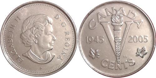 5 Cent Canada Nichel Elisabetta II (1926-)