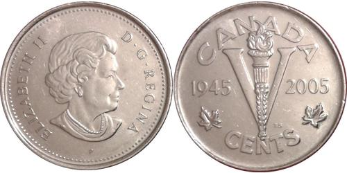 5 Cent Canada Nickel Elizabeth II (1926-)