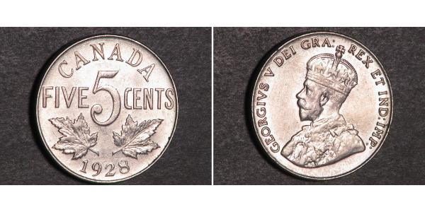 5 Cent Canada Nickel George V of the United Kingdom (1865-1936)