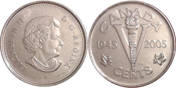 5 Cent Canada Nickel Elizabeth II (1926-)